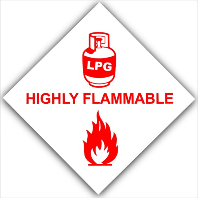 LPG Gas Highly Flammable-Sticker-Car,Van Caravan,Boat-Safety Warning Red Sign