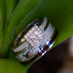 2 Pc Natural White Camo Ring Koa Wood And Silver