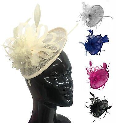 Cappello Nero Fascia Per Capelli Aliceband Fascinator con matrimoni donna giorno razza Royal Ascot