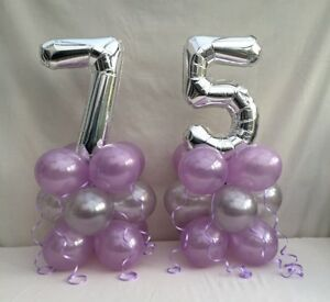 Image Is Loading 75TH Birthday Balloon Kit Lilac And Silver Table