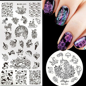 Image Is Loading 2pcs Unicorn Nail Art Stamping Plates Metal Stamp