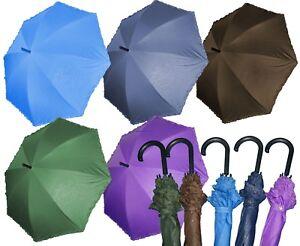 Automatik-Regenschirm-Stockschirm-mit-Rueschen-Glitter-Braun-Blau-Gruen-Lila-Neu