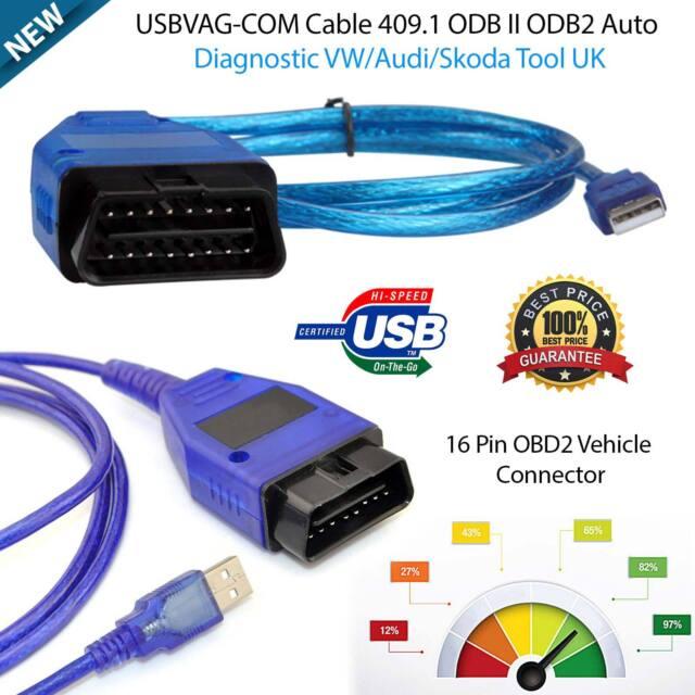 VAG-COM VCDS USB Cable KKL 409 1 Car Diagnostic Scanner OBD2 Tool for Audi  VW