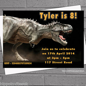 Image Is Loading Dinosaur T Rex Childrens Birthday Party Invitations X