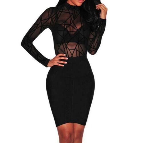 Womens Sheer Mesh Long Sleeve Leotard Top Blouse Bodysuit Lingerie Jumpsuit TPI