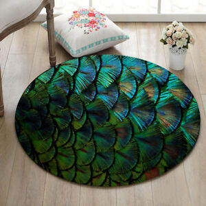 Green Fish Scales Circle Round Area Rug Mat Doormat Non