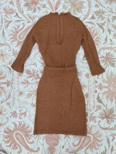 Vintage 1940s Orange Wool Knit Dress Set Top & Ski