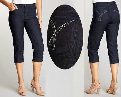 NYDJ Ariel Embellished Bling Pocket Dark Denim Wash Crop Capri Jeans