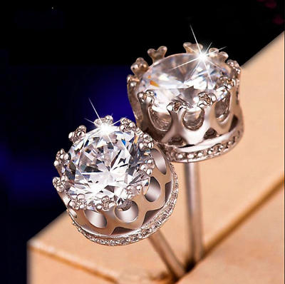 Workmanship In 4ct Round Cut Vvs1/d Diamond Push Solitaire Stud Earrings 14k White Gold Finish Exquisite