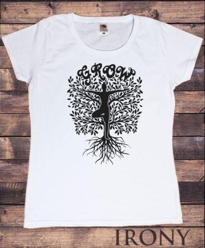 Women/'s T-Shirt Grow Yoga Tree Buddha Yoga Meditation Pose zen Tree TS1443