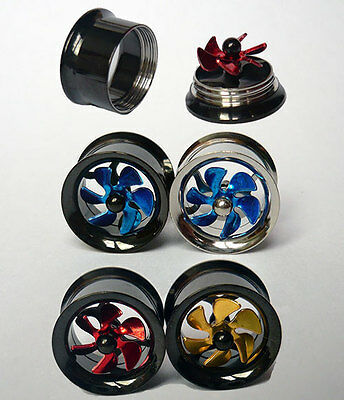 Flesh Tunnel Plug Piercing Turbine Propeller Spinning Fan Double Flared Tube PVD