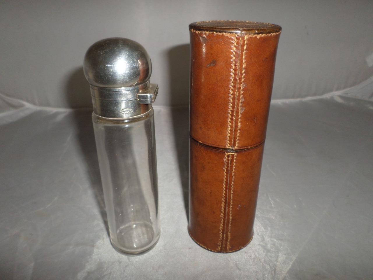 Antique Hallmarked Asprey Glass Spirit Hunt   Hip Flask in Leather Case