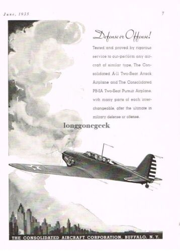 1935 Consolidated PB2A Pursuit Airplane Vtg Print Ad