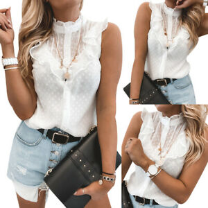Women-039-s-Lace-Ruffle-Sleeve-Vest-Tank-Tops-OL-Ladies-Casual-T-Shirt-Blouse-Tee