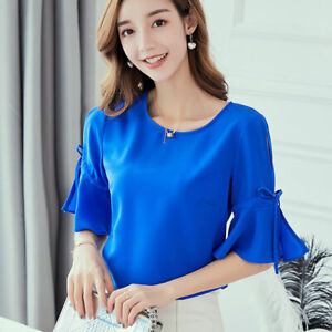 Summer-Women-Ladies-Top-Fashion-Shirt-Loose-Chiffon-Short-Sleeve-T-Shirt-Blouse