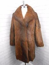 Vintage 70s Auburn Red Brindle 3/4 Length Real Coney Fur Retro Jacket Coat 10/12