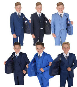 Boys-Blue-Suits-Wedding-PageBoy-Party-Prom-5-Piece-Suit-2-14-Years