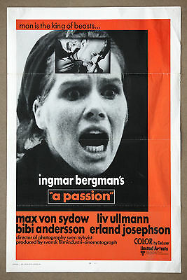 Ingmar Bergman's A Passion Vintage Orignial Tri Fold  Movie Poster 1970