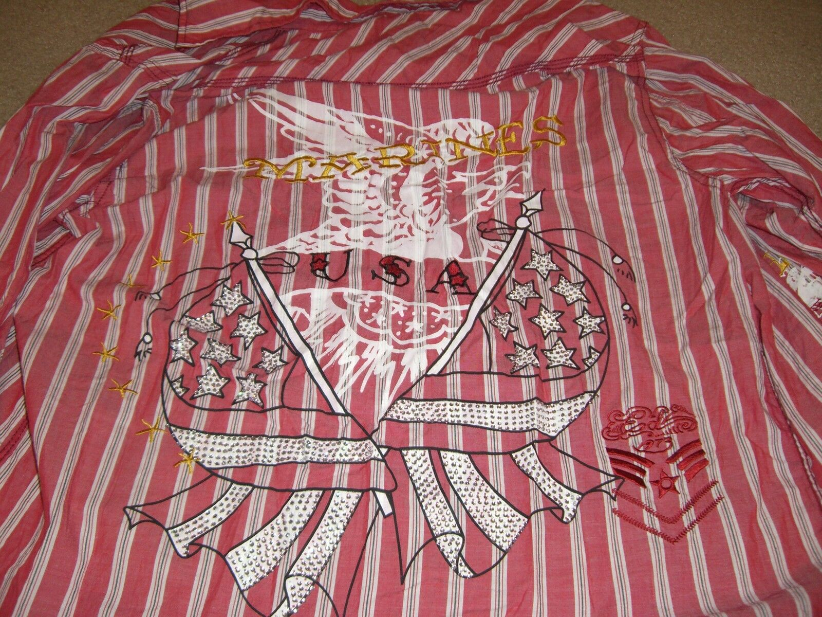 NEW ED HARDY red and stripes Casual SHIRT Mens L Christian Audigier Rhinestones