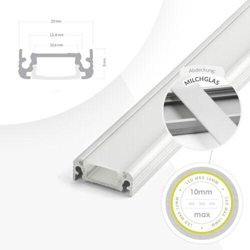1-2 Meter Alu Profil LED Licht Aluminium Leiste für Streifen Beleuchtung Kanal
