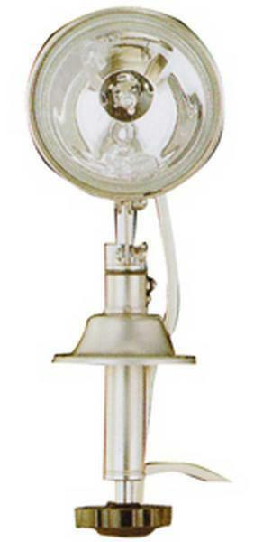 PROIETTORE INOX 55 W 12V 360° e verdeicale di 45°, lampadina alogena da 55 W., 12