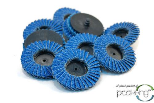 """10pk 2/"""" inch 40 Grit Flap Sanding Disc Wheels Type R Roloc Threaded Twist Lock"""