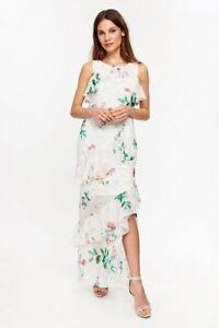 2db0df7f9a45 Wallis Ivory / Blush Pink Floral Print Tiered Layered Maxi Dress Size ...