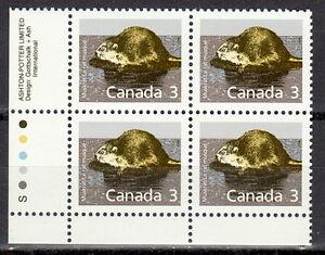 CANADA-1157-3-Mammal-Definitive-Muskrat-LL-Inscription-Block-MNH