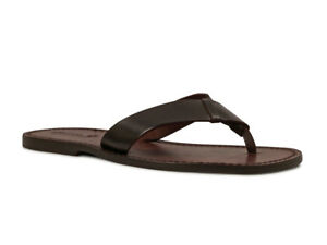 7949ec2e3e06 Details about Handmade leather flip-flops sandals for men with leather sole  Made in Italy