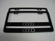 "2 Brand New 4 RING ""LOGO"" BLACK Metal License Plate Frame Front&Rear"