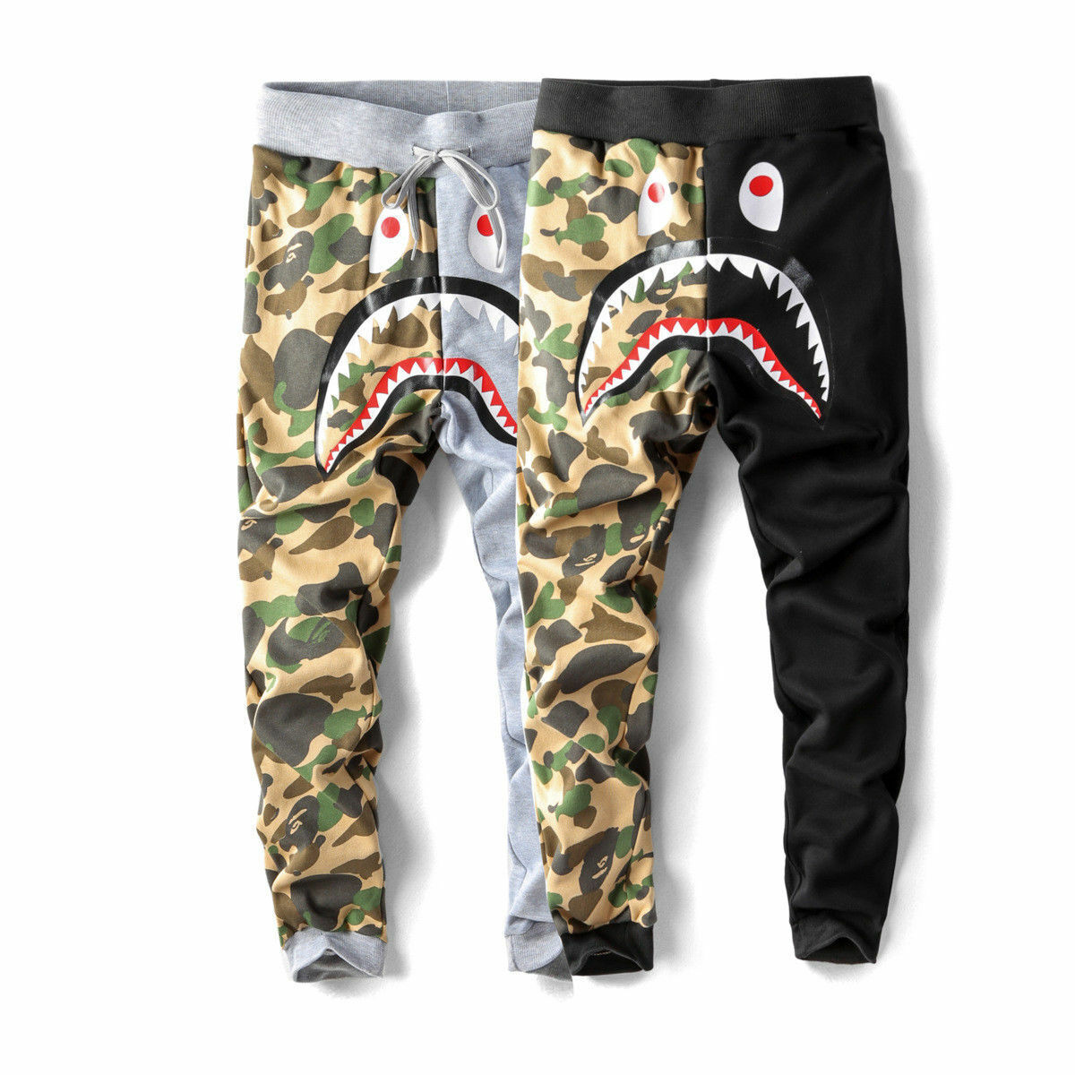 *Japan BAPE A Bathing Ape Shark Head Camo Sweatpants Men's C