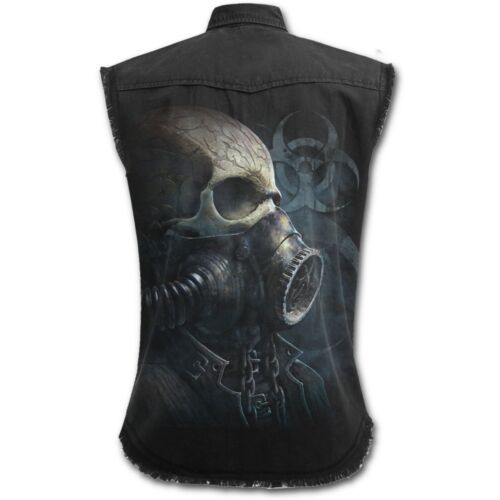 Apocalypse. Mens Sleeveless Stone Washed Worker BIO SKULL Spiral Skull