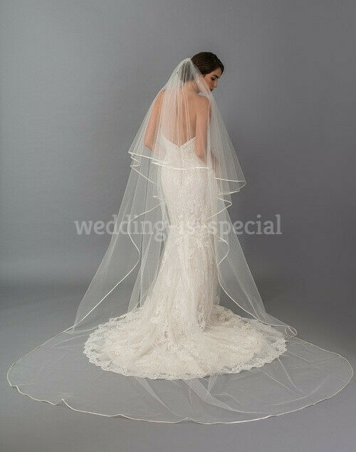 Beige Wedding Bridal Veil 2 Tier Cathedral Satin Edge Swarovski Crystals 126