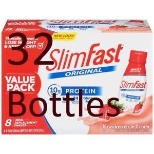 32-Bottles-11-Oz-SlimFast-Original-Strawberries-amp-Cream-Meal-Replacement-Shakes
