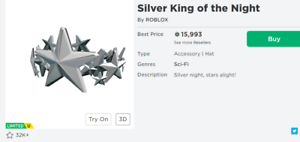 Best Cheep Robux Roblox Items Silver King Of The Night For Trade 21k Rap 28k Value Limited Item Robux Roblox Ebay
