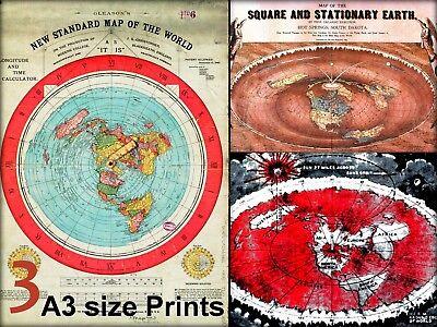 Gleason/'s Standard 24x36 /& Square Stationary Earth 24x18 Flat Earth Maps SET