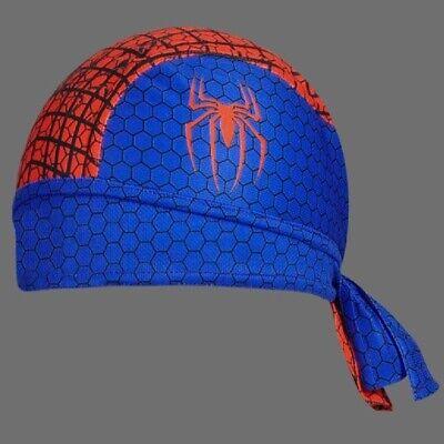 Moisture Wicking Blue White Shark Stretch Headwrap Biker Durag Skull Cap Hat