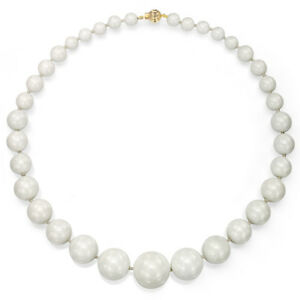 Brillant Pearl Necklace 8-20mm Graduated White Jade & 8-9mm White Pearl 14ky Gold 18'' Un RemèDe Souverain Indispensable Pour La Maison