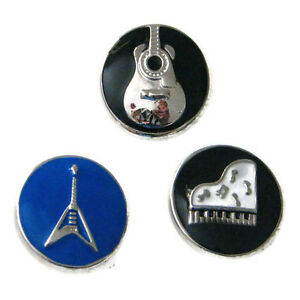 {/& Snap Chunk Button Black Enamel Guitar Charm For Ginger Snap Style Jewelry