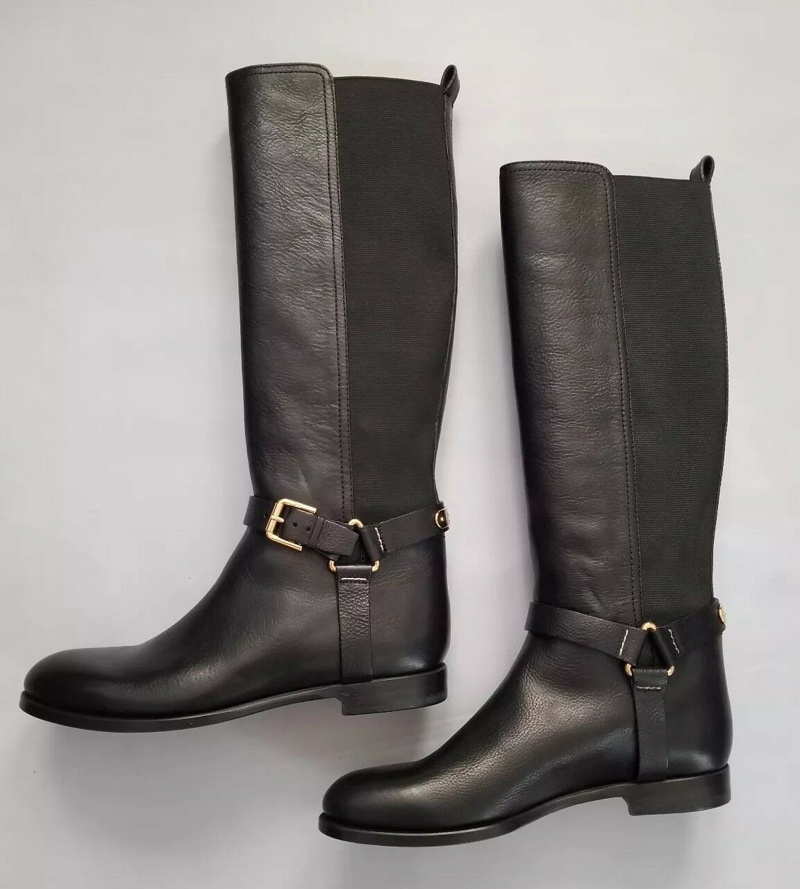 RALPH LAUREN COLLECTION SABEEN BLACK VACHETTA LEATHER RIDING BOOTS SZ 10B ITALY