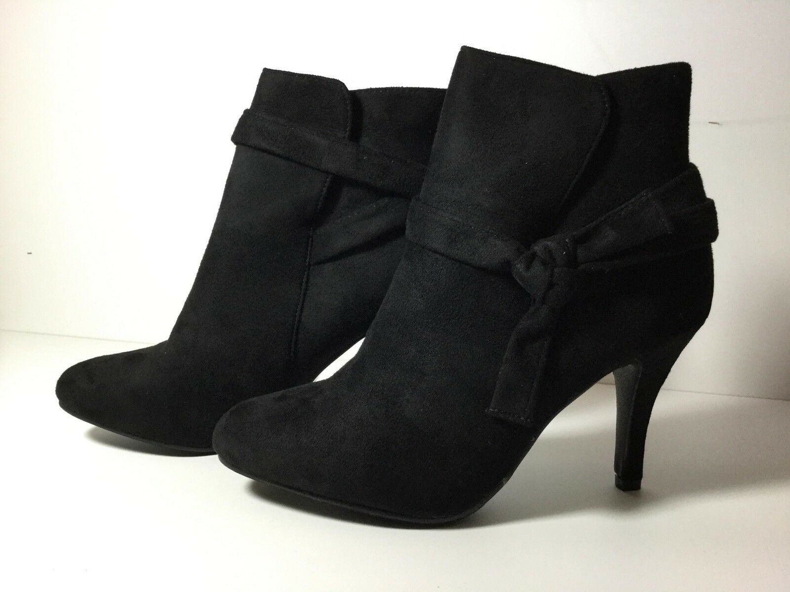 Final Fashion Women suede ankle high bow knot skinny autumn winter heels shoes