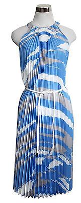 Max Mara Kleid Danzica Gr. 38 M Plissee blau mit Gürtel Sommer Neckholder I171