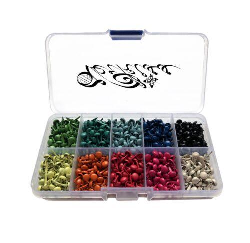 500 unidades patrones paréntesis 5mm Mini brads para scrapbooking DIY bricolaje de colores