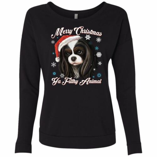 Next Level French Terry Scoop Christmas Sweater Cavalier King Charles Spaniel