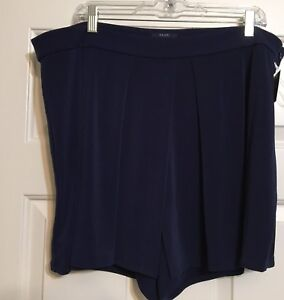 Kaari-Blue-Curvy-16W-navy-blue-shorts-with-front-overlay-skort-women-039-s-NWT