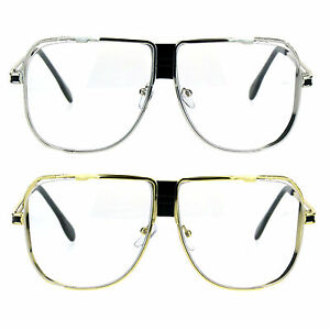 98c39c37a16f Retro Nerdy Metal Rim Mob Oversize Aviator Clear Lens Eye Glasses
