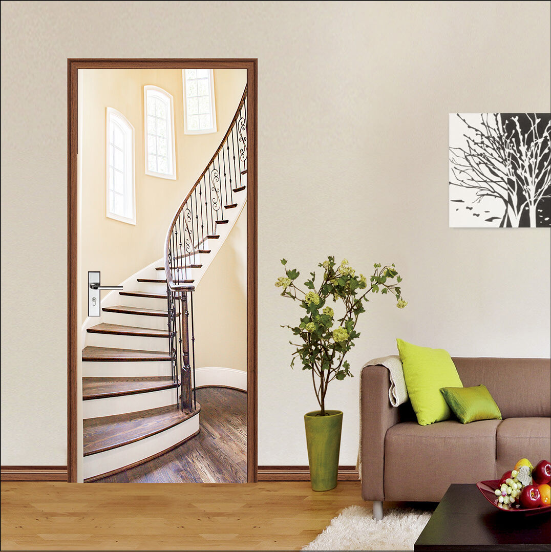 3D Die Treppe 8 Tür Wandmalerei Wandaufkleber Aufkleber AJ WALLPAPER DE Kyra