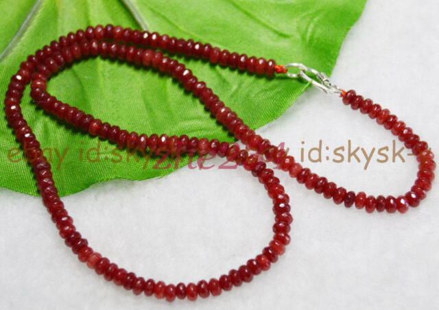 Fine 4X6mm Brazil Red Ruby Faceted Roundel Gems Beads Necklace Silver Clasp AAA