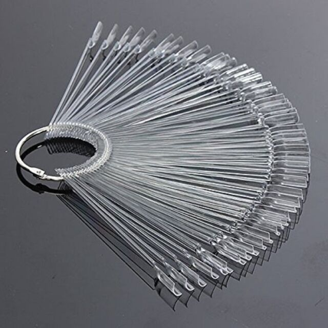 50pcs Nail Art False Tips Sticks Polish Practice Display Fan Board ...