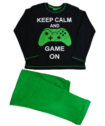 Keep Calm and Game On Glow IN The Dark Pyjamas 9 to 14 Years FANTASTIC